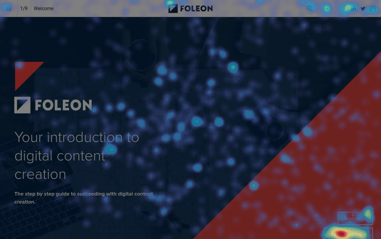 An example of a click heatmap on our own eBook about digital content creation