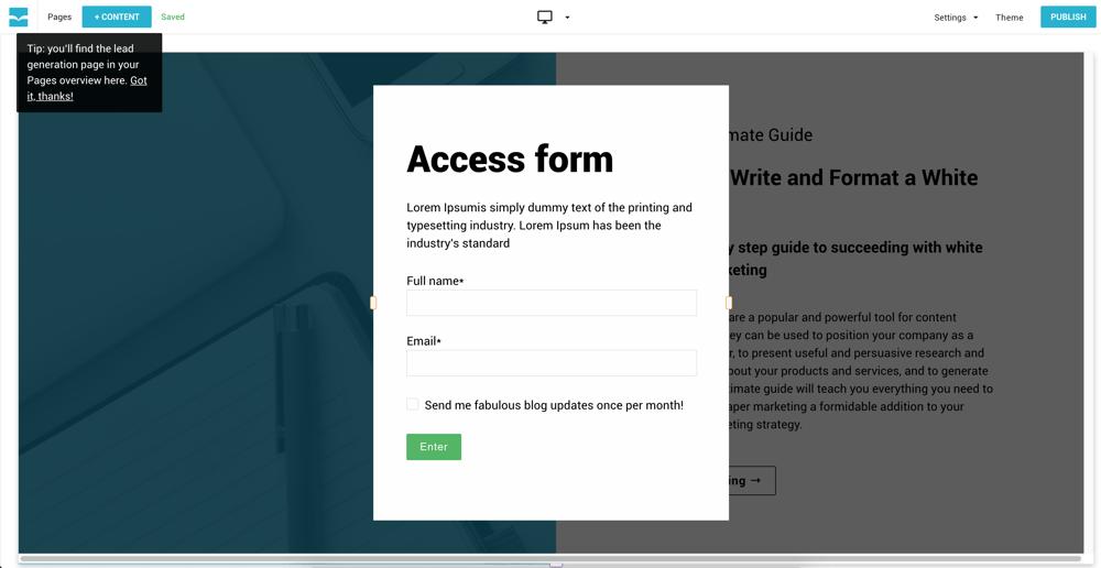 Lead Gen Access Form