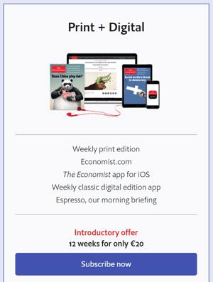 Economist subscription